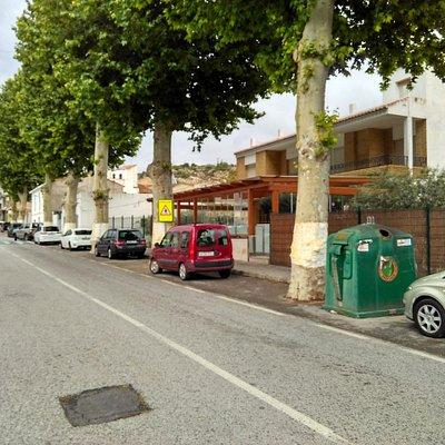 Front of Pub Olivo facing north.