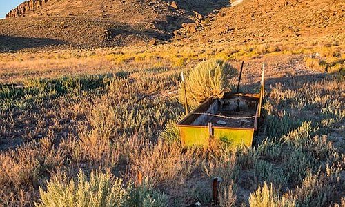 Rusty watering trough along Lunar Crater Backcountry Byway.