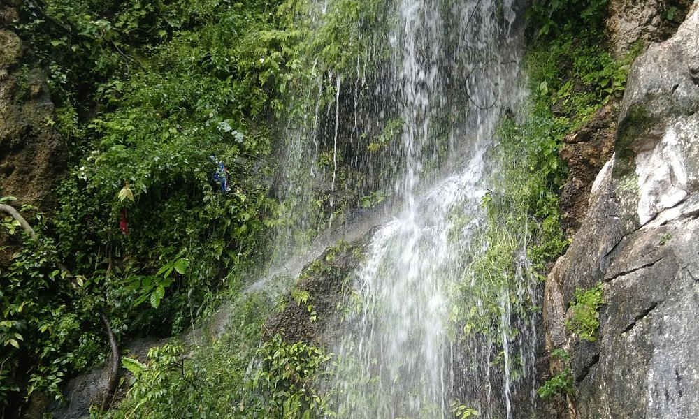 a small water falls near the step