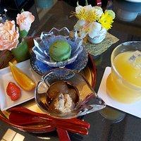 小倉山荘カフェ 季節のおこわ膳セットのデザート