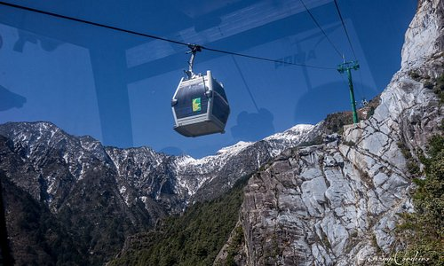 Cable car line up the mountain