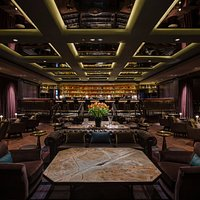 Manhattan is reminiscent of a grand hotel bar, modern yet with a touch of old New York glamour