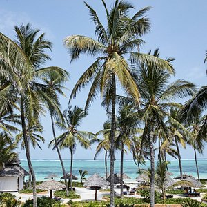 View of the Breezes beach from our villa terrace.
