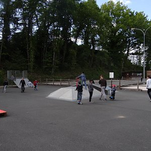 Lots of young people at the skatepark