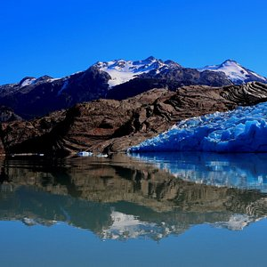 View of the glacier. The rock in the picture was covered by the glacier just a few years ago.