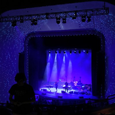 The Palace Theater stage: setting up for Beacon and Tycho