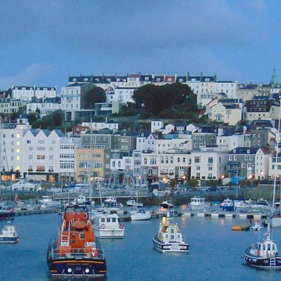 St Peter Port at dawn with our Amazing Life Boat in the front.