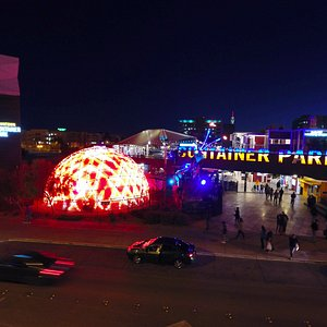 The Dome at Container Park is an immersive, 4K-visual dome entertainment experience.