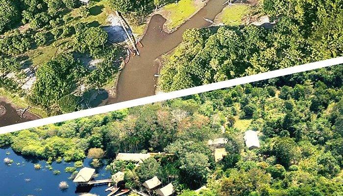 Imagem aérea das diferentes estações do Rio Negro no Tariri.