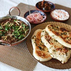 Authentic Punjabi dal makhni and naan