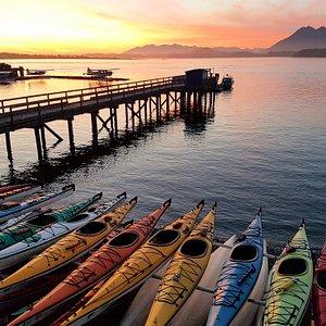 Sunset from the beach at Tofino Sea Kayaking