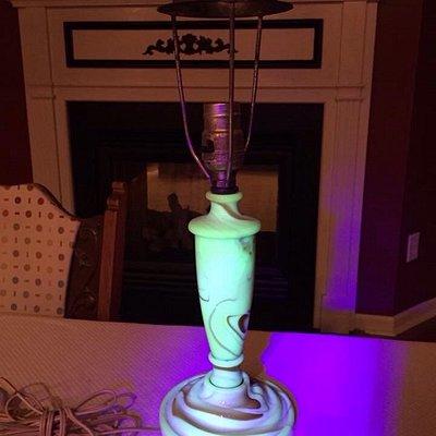 An antique uranium glass slag lamp and uranium glass globe from a fantastic antique mall!