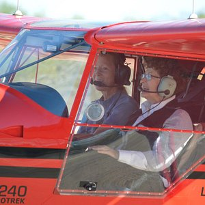 Jan and Pilot Dawn, ready for takeoff!