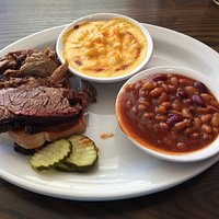 2-Meat BBQ Platter (Brisket & Pulled Pork) with beans & Mac/cheese