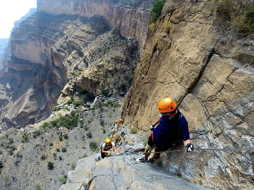 Via Ferrata: 200m assisted climb on Jebel Shams