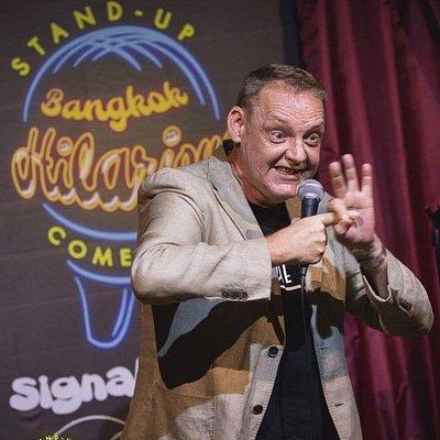 Jonathan Atherton performing at Bangkok Hilarious