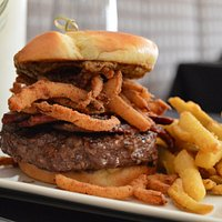 Brisket Burger served in the Glass Bar inside the Historic Hassayampa Inn