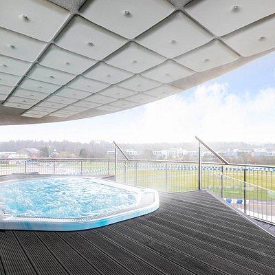Hot tub on balcony overlooking Mercedes Benz World