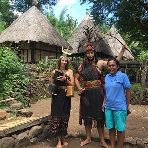 Our guide Melissa posed with our guests in Takpala traditional village