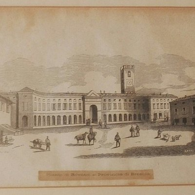 Piazza Cavour in una stampa ottocentesca.