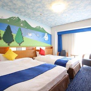 【コンフォートレイク27㎡(2名様利用時)】湖をイメージした、涼しげなお部屋。