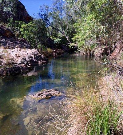 Cool clean water.  Popular swimming spot.