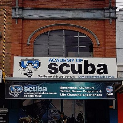 Out the front of Academy of Scuba