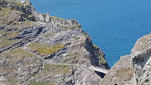 View of castle from cliff top walk.