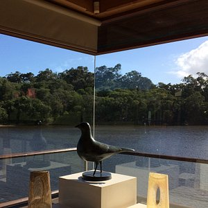 Artwork framed by the lake
