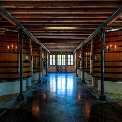 Wooden vats at Chateau Pontet Canet
