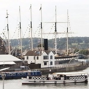 Tower Bell and clear view of SS Great Britain after old buildings demolished