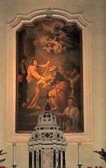 particolare della Pala del Ferrari: S. Pietro riceve le chiavi da Gesù