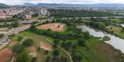 Jabi Lake park, Abuja. Looking towards Kado Estate
