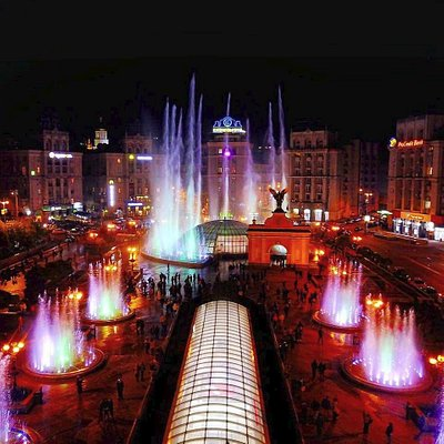fountains with illumination and an acoustic system on Maidan Nezalezhnosti square