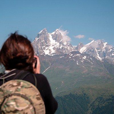 View of Ushba peak. Svaneti