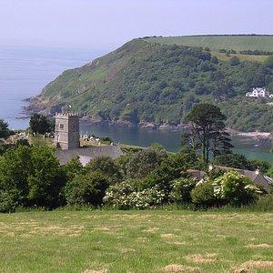 Talland Church overlooking Talland Bay