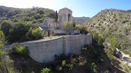 Visitors to the top of the Wrigley Memorial can see all they way down Avalon Canyon