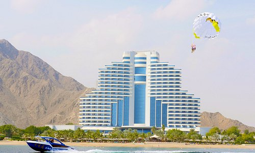 Parasailing with Al Boom Diving at Le Meridien Al Aqah Beach Resort