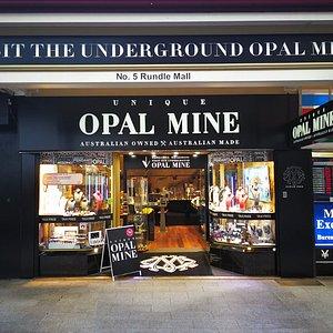 Unique Opal Mine front entry,  Opal Mine below store