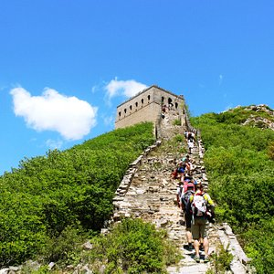 Hiking up to a Great Wall tower above Stone Valley.