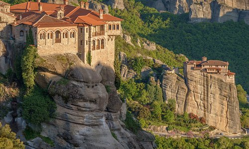 Varlam Monastery in front, Rousanou Nunnery behind