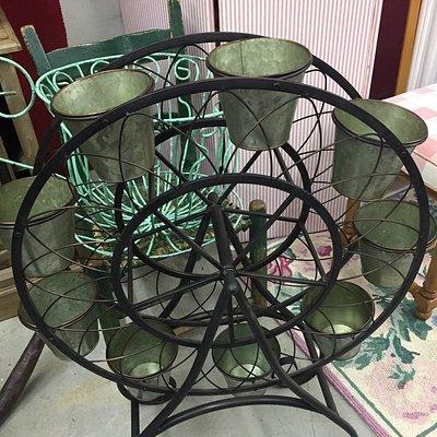 Cute Ferris wheel planter found at Antiques on Main