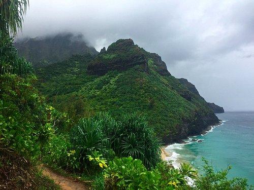 First 2 miles between Ke'e beach and Hanakapiai beach