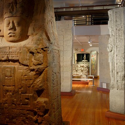 Encounters with the Americas includes monumental Maya sculptures.