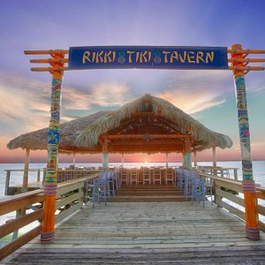 At the end of the 800 ft Pier, directly over the ocean, is the new, improved Rikki Tiki Tavern.