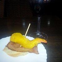 tapa de concurso: gamba rebozado y bacon plancha