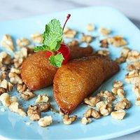 TAS KADAYIF- Fried semolina crepes stuffed with cinnamon walnut in homemade syrup
