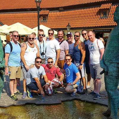 A group from the USA on a 50th birthday trip around Europe visiting David Cerny's Peeing guy's.