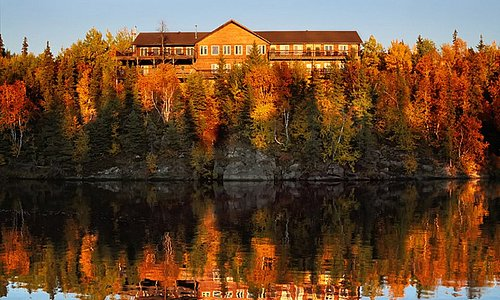 View of the lodge from Amisk Lake