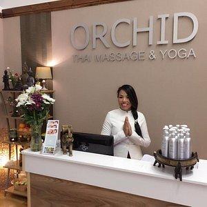 Orchid massage reception area